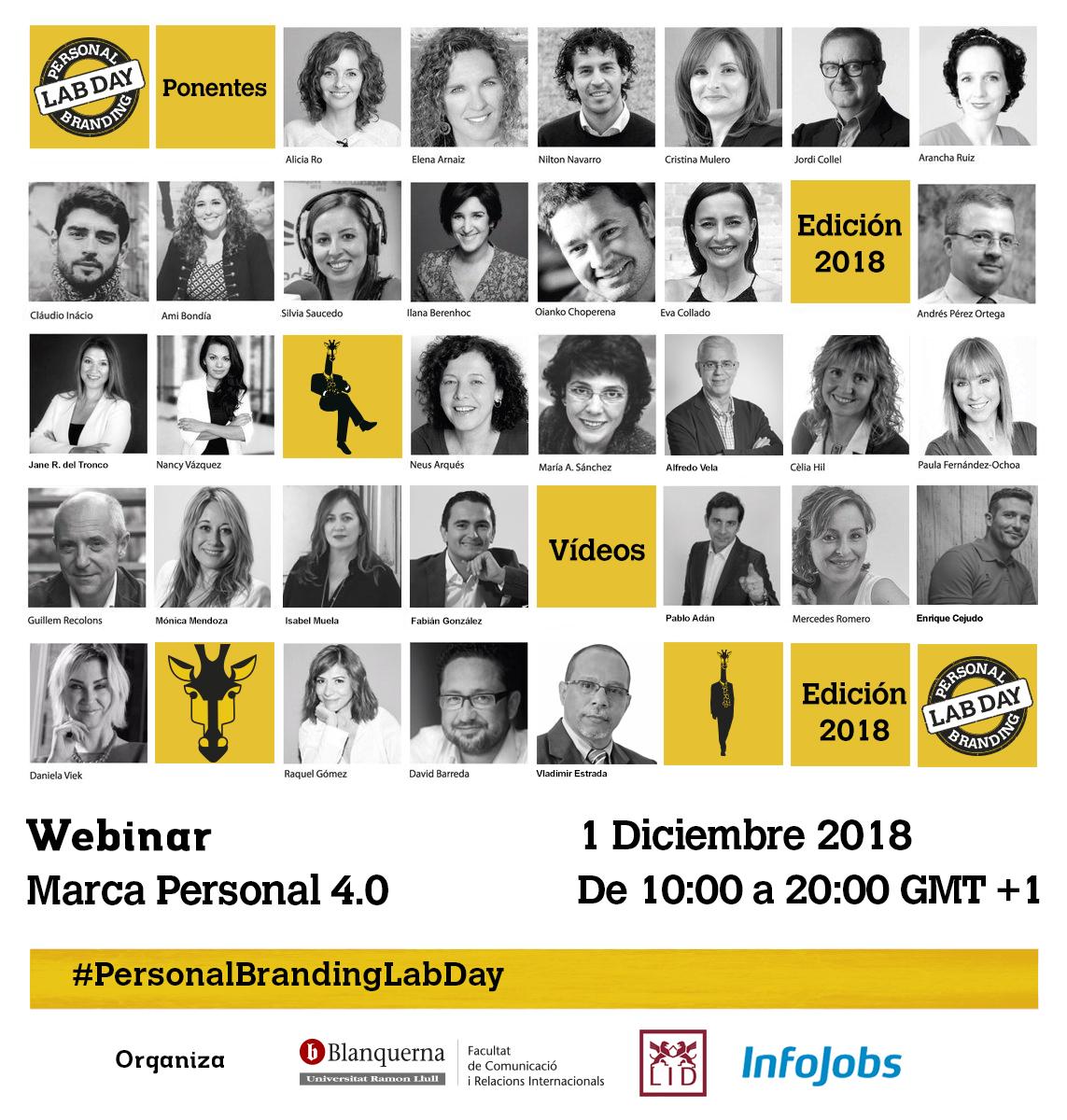 Ponentes directo y vídeo en Personal Branding Lab Day 2018